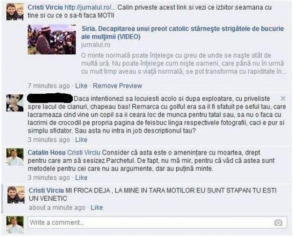 amenintari pe facebook