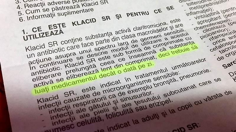 """Greşeală în prospectul medicamentului Klacid - """"trebuie să luaţi medicamentul decât o dată pe zi"""""""