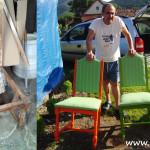 Lunea mâinilor îndemânatice: două scaune vechi vopsite şi retapiţate