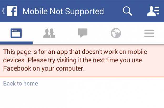 facebook mobile app not supported