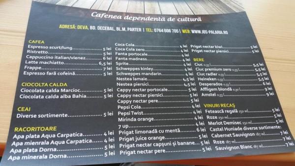 lista de preturi meniu cafenea jos palaria deva