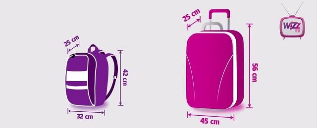Bagajul din stânga se poate lua în cabină gratuit, cel din stânga contra-cost (vreo 10 euro, parcă)